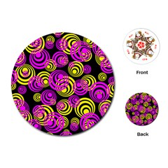 Neon Yellow And Hot Pink Circles Playing Cards (round)