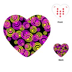 Neon Yellow And Hot Pink Circles Playing Cards (heart)