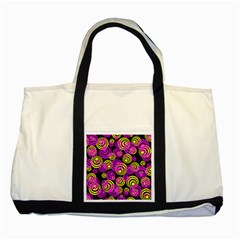 Neon Yellow And Hot Pink Circles Two Tone Tote Bag