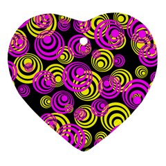 Neon Yellow And Hot Pink Circles Heart Ornament (two Sides)