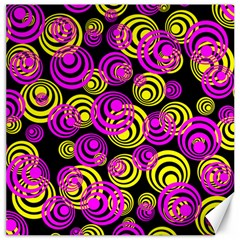 Neon Yellow And Hot Pink Circles Canvas 20  X 20