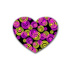 Neon Yellow And Hot Pink Circles Rubber Coaster (heart)