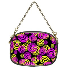 Neon Yellow And Hot Pink Circles Chain Purses (two Sides)