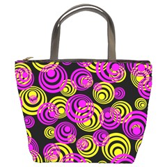 Neon Yellow And Hot Pink Circles Bucket Bags