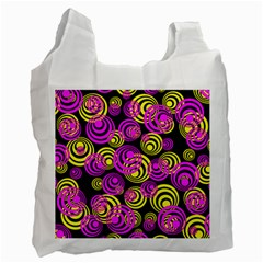 Neon Yellow And Hot Pink Circles Recycle Bag (two Side)