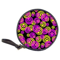 Neon Yellow And Hot Pink Circles Classic 20 Cd Wallets