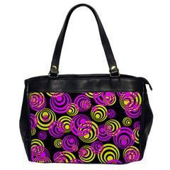 Neon Yellow And Hot Pink Circles Office Handbags