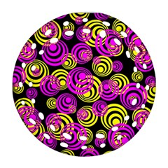 Neon Yellow And Hot Pink Circles Round Filigree Ornament (two Sides)