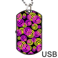Neon Yellow And Hot Pink Circles Dog Tag Usb Flash (one Side)