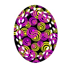 Neon Yellow And Hot Pink Circles Ornament (oval Filigree)