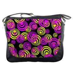 Neon Yellow And Hot Pink Circles Messenger Bags
