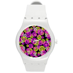 Neon Yellow And Hot Pink Circles Round Plastic Sport Watch (m)