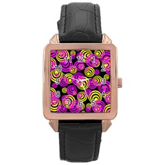 Neon Yellow And Hot Pink Circles Rose Gold Leather Watch