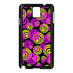 Neon Yellow And Hot Pink Circles Samsung Galaxy Note 3 N9005 Case (black)