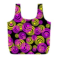 Neon Yellow And Hot Pink Circles Full Print Recycle Bags (l)
