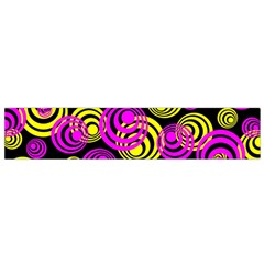 Neon Yellow And Hot Pink Circles Small Flano Scarf