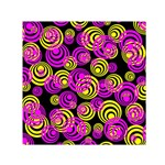 Neon Yellow and Hot Pink Circles Small Satin Scarf (Square) Front