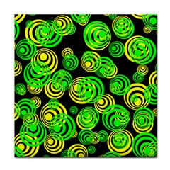 Neon Yellow And Green Circles On Black Tile Coasters