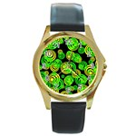 Neon yellow and Green Circles on Black Round Gold Metal Watch Front