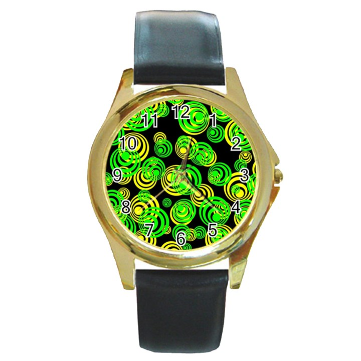 Neon yellow and Green Circles on Black Round Gold Metal Watch