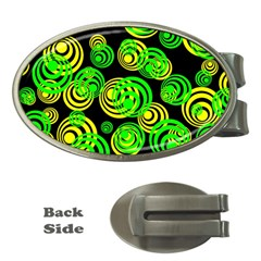 Neon Yellow And Green Circles On Black Money Clips (oval)