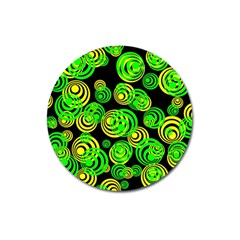 Neon Yellow And Green Circles On Black Magnet 3  (round)