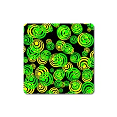 Neon Yellow And Green Circles On Black Square Magnet