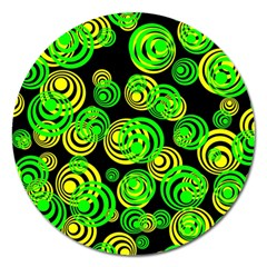Neon Yellow And Green Circles On Black Magnet 5  (round)