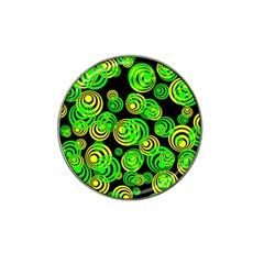 Neon Yellow And Green Circles On Black Hat Clip Ball Marker
