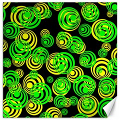 Neon Yellow And Green Circles On Black Canvas 16  X 16