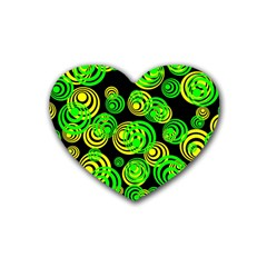 Neon Yellow And Green Circles On Black Heart Coaster (4 Pack)