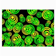 Neon Yellow And Green Circles On Black Large Glasses Cloth (2 Side)