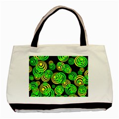 Neon Yellow And Green Circles On Black Basic Tote Bag (two Sides)