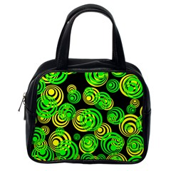 Neon Yellow And Green Circles On Black Classic Handbags (one Side)