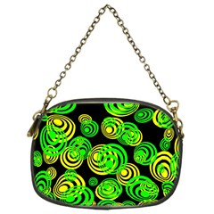 Neon Yellow And Green Circles On Black Chain Purses (one Side)