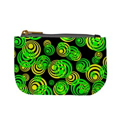 Neon Yellow And Green Circles On Black Mini Coin Purses