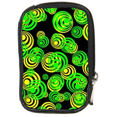 Neon Yellow And Green Circles On Black Compact Camera Cases