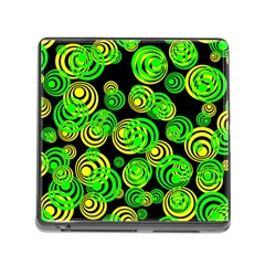 Neon Yellow And Green Circles On Black Memory Card Reader (square)