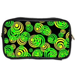Neon Yellow And Green Circles On Black Toiletries Bags 2 Side