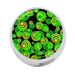 Neon Yellow And Green Circles On Black 4 Port Usb Hub (two Sides)