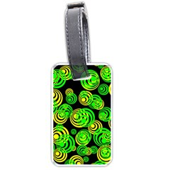 Neon Yellow And Green Circles On Black Luggage Tags (one Side)