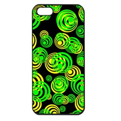 Neon Yellow And Green Circles On Black Apple Iphone 5 Seamless Case (black)