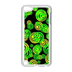 Neon Yellow And Green Circles On Black Apple Ipod Touch 5 Case (white)