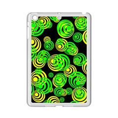 Neon Yellow And Green Circles On Black Ipad Mini 2 Enamel Coated Cases