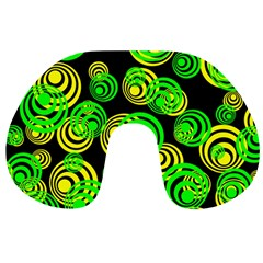 Neon Yellow And Green Circles On Black Travel Neck Pillows