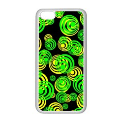 Neon Yellow And Green Circles On Black Apple Iphone 5c Seamless Case (white)