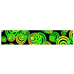 Neon Yellow And Green Circles On Black Small Flano Scarf