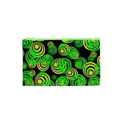 Neon Yellow And Green Circles On Black Cosmetic Bag (xs)