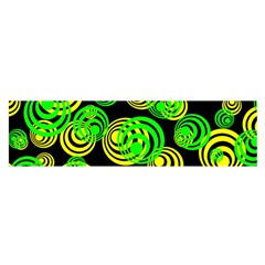 Neon Yellow And Green Circles On Black Satin Scarf (oblong)