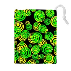 Neon Yellow And Green Circles On Black Drawstring Pouches (extra Large)